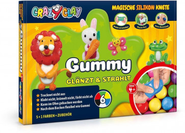 Crazy Clay Magische Silikon Knete, Gummy Basic-Set
